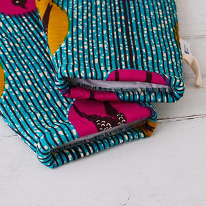 African fabric oven mitts - Turquoise speed bird oven glove