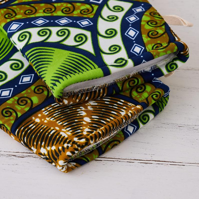 African fabric oven mitts - Lime cassettes oven gloves