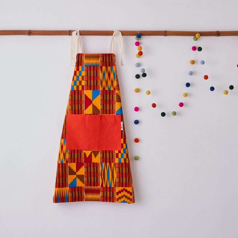 Children's apron - Red brown kente
