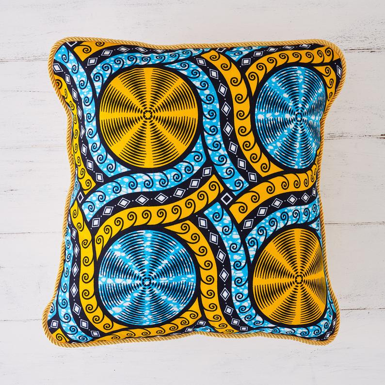 African print pillow - Cyan cassettes cushion