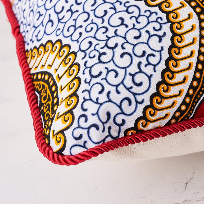 African print pillow - Red royalty cushion