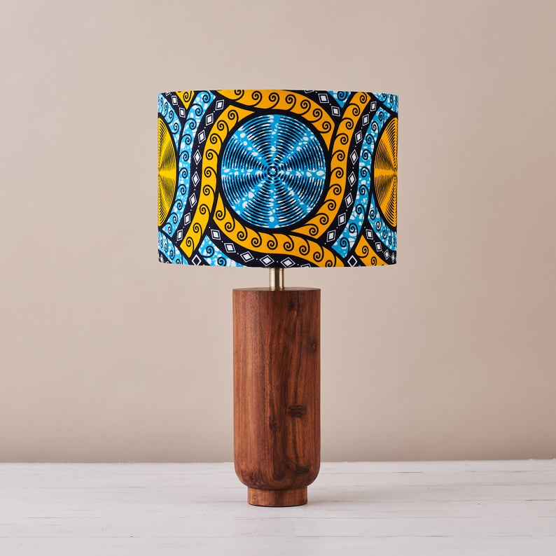 African wax print drum lampshade - Cyan cassettes