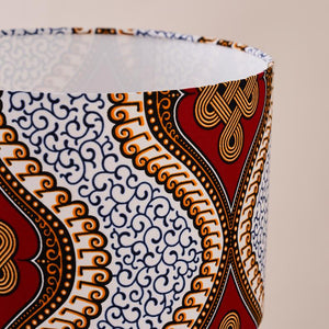 African wax print drum lampshade - Red royalty