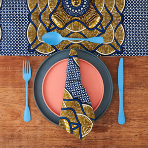 African Print Table Runner - Navy Tan Squares