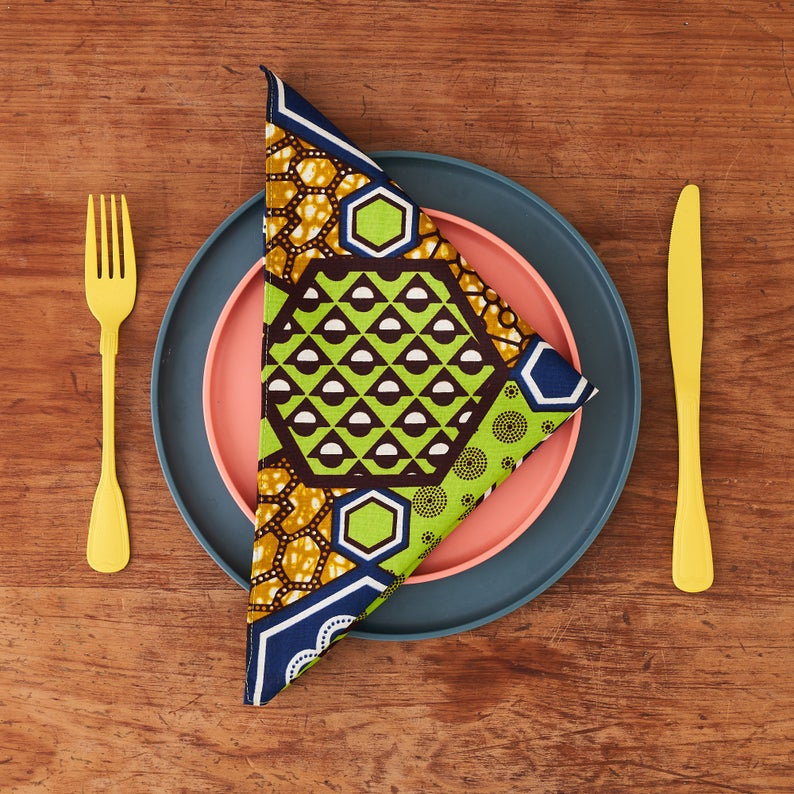 PRE-ORDER African print napkins set of 4 - Green Nyame