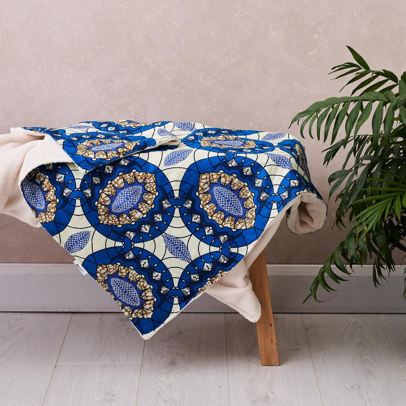 African print throw -  Royal blue oval blanket