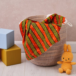 African print throw - Orange stripes blanket