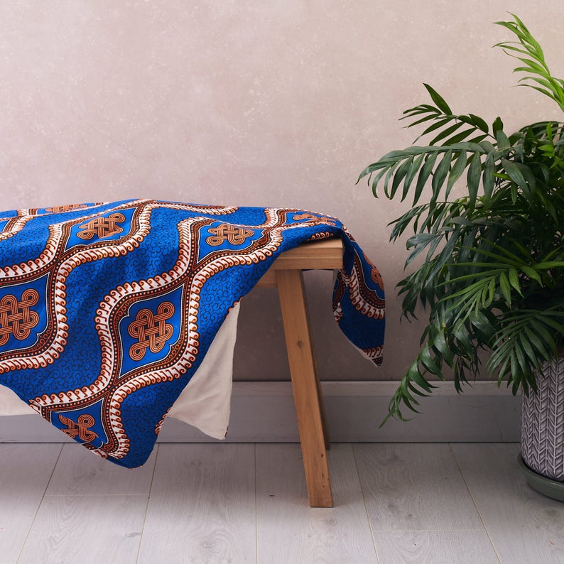 PRE-ORDER African print throw -  Blue royalty blanket