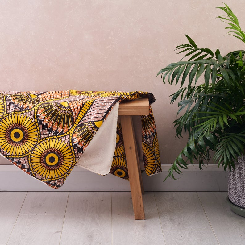 African print throw - Tan sunflowers