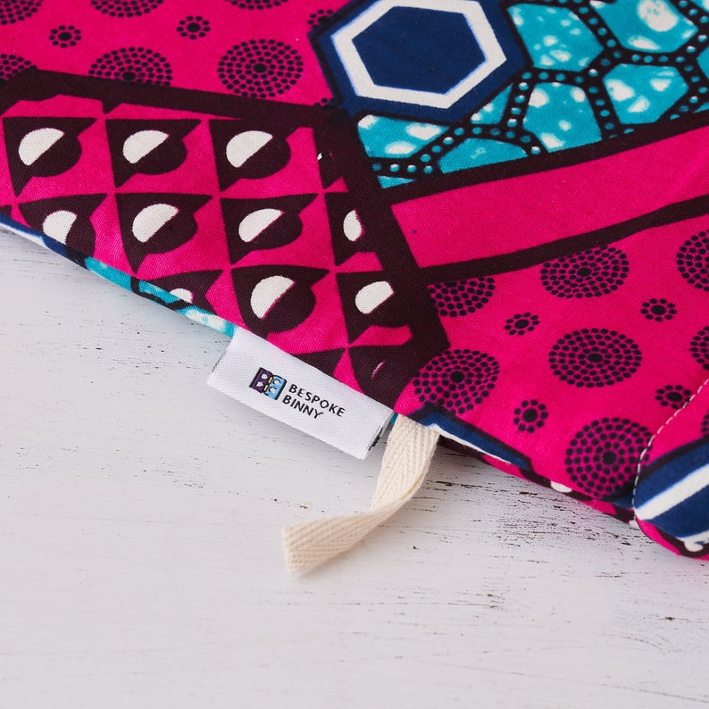 African fabric oven mitts - Pink Blue Nyame