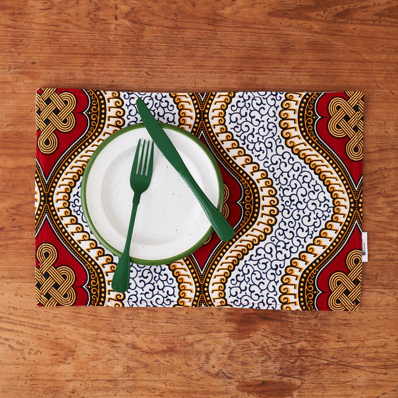 PRE-ORDER African print fabric placemats - Red royalty fabric
