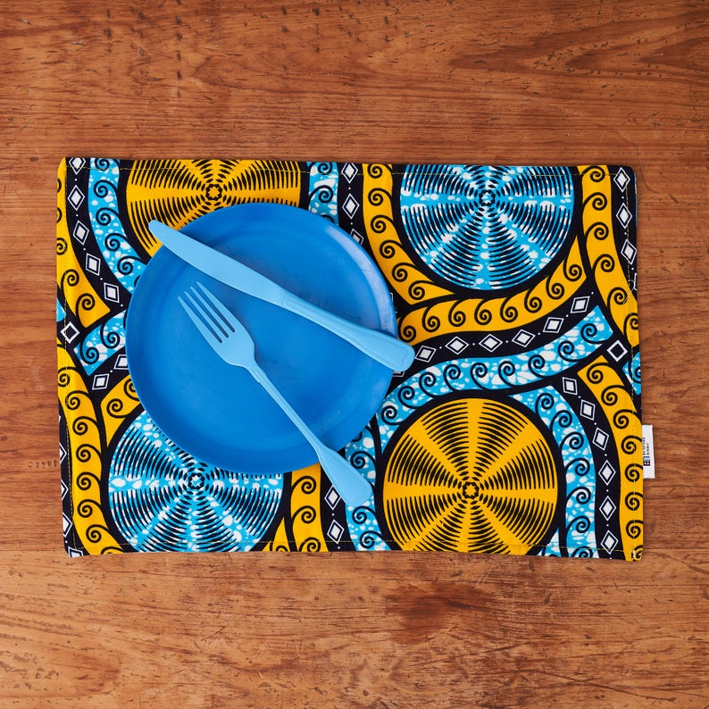African print fabric placemats - Cyan cassettes