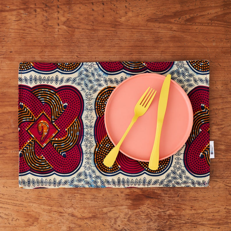 PRE-ORDER African print fabric placemats - Pink tassels fabric