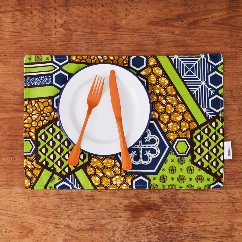 PRE-ORDER African print fabric placemats - Green Nyame