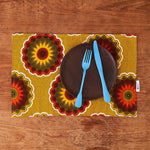 African print fabric placemat - yellow florettes