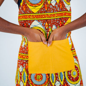 African Print Apron - Orange And Yellow Oval - Bespoke Binny