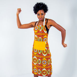 African Print Apron - Orange And Yellow Oval