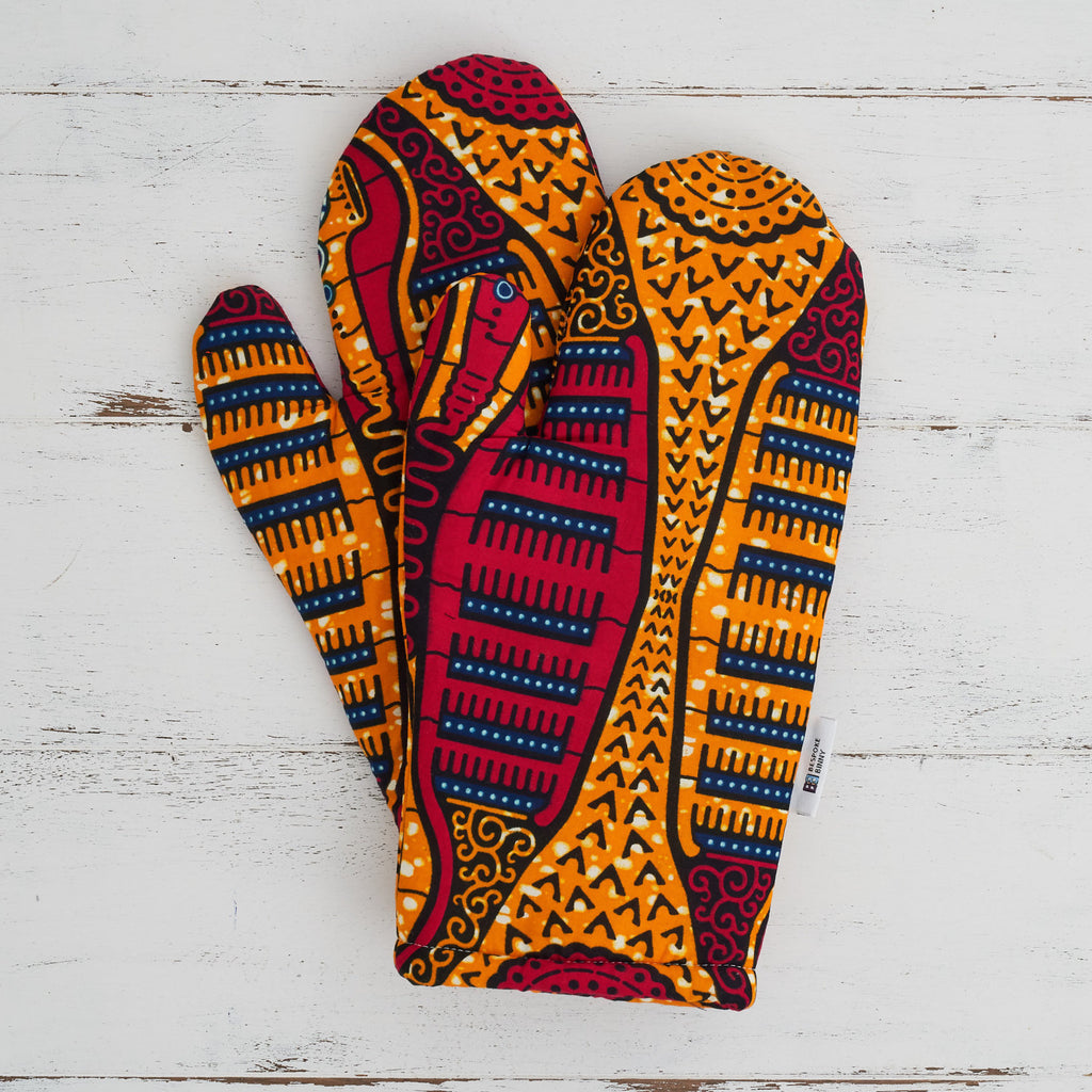 African print oven gloves - Pink combs - Bespoke Binny
