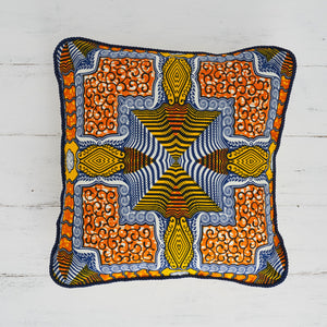 African Print Pillow - Orange Blue Squares - Bespoke Binny