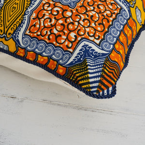 African Print Pillow - Orange Blue Squares