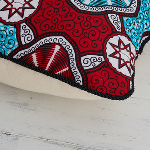 African Print Pillow - Red Marine