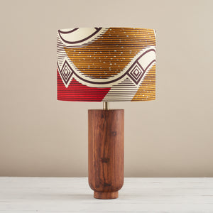 Lampshade African Wax Print - Red and gold waves