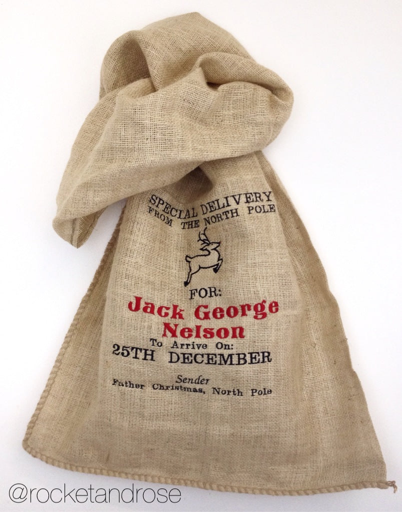 Personalised 'Traditional Hessian Embroidered Christmas Present Sack'