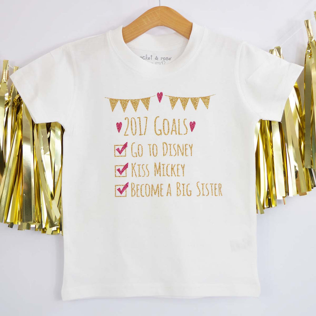 Personalised '2018 Goals' Cute Kids Slogan T-Shirt