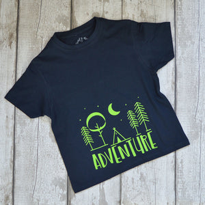 'Adventure' Cute Personalised Kids Slogan T-Shirt