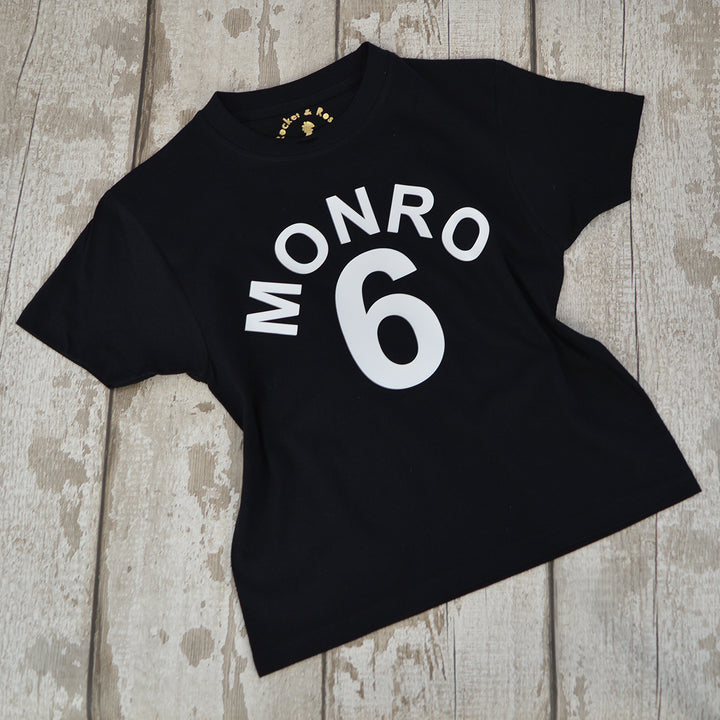 'Arched Number & Name' ANY AGE Birthday T-Shirt