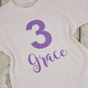 Personalised 'Birthday Number' Cute Kids Any Age Birthday T-Shirt