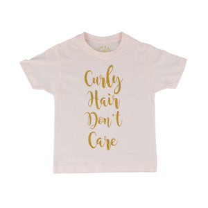 'Curly Hair Don't Care' Cute Kids Slogan T-Shirt
