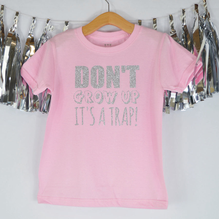 'Don't Grow Up It's a Trap' Cute Kids Slogan T-Shirt