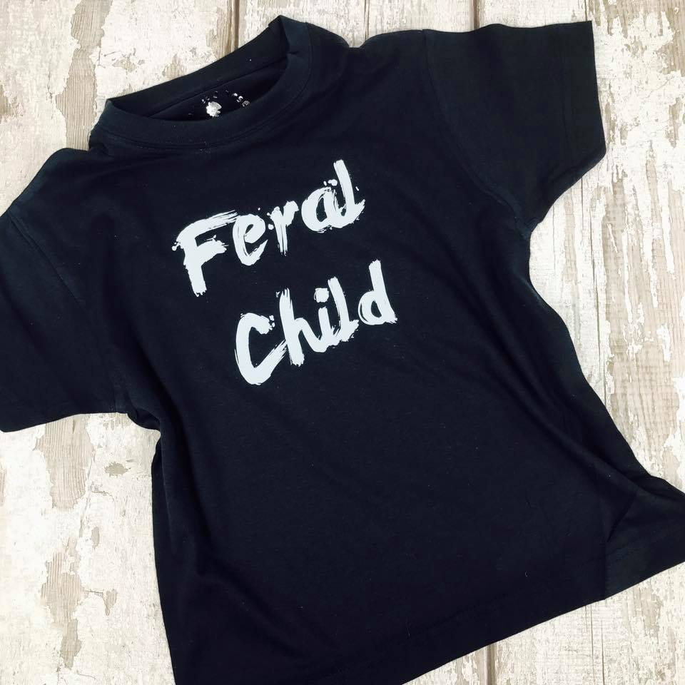 'Feral Child' Hilarious Kids Slogan T-Shirt
