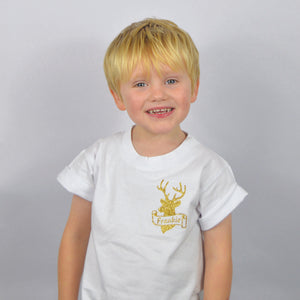 'Stag Scroll' Personalised Christmas Kids Slogan T-Shirt