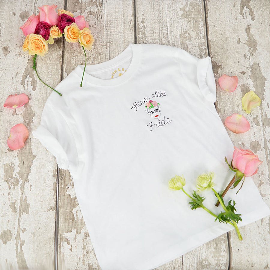 'Fierce Like Frida' Embroidered Kids T-Shirt