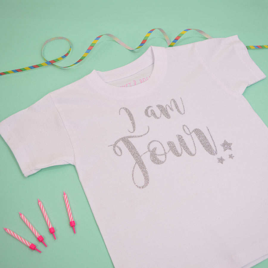 'I am Four' Cute Kids ANY AGE Birthday T-Shirt
