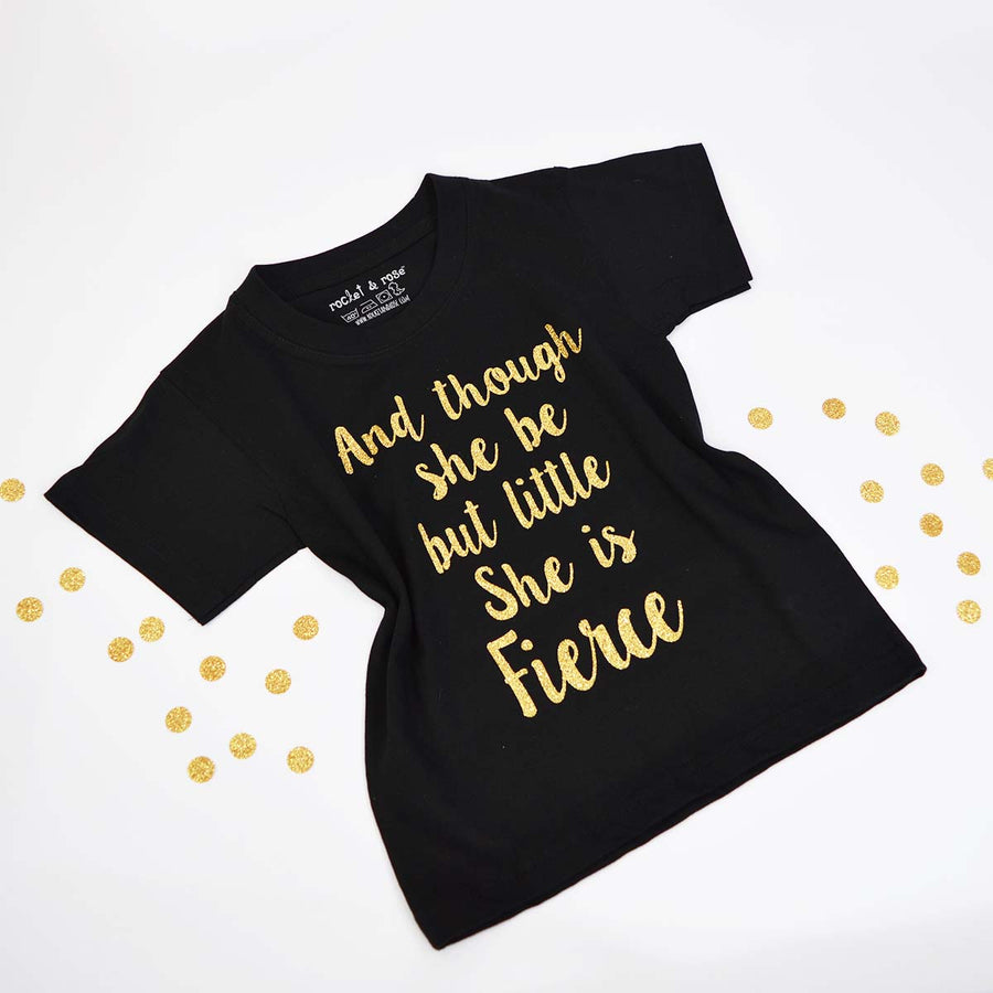 'Little But Fierce' Cool Kids Slogan T-Shirt