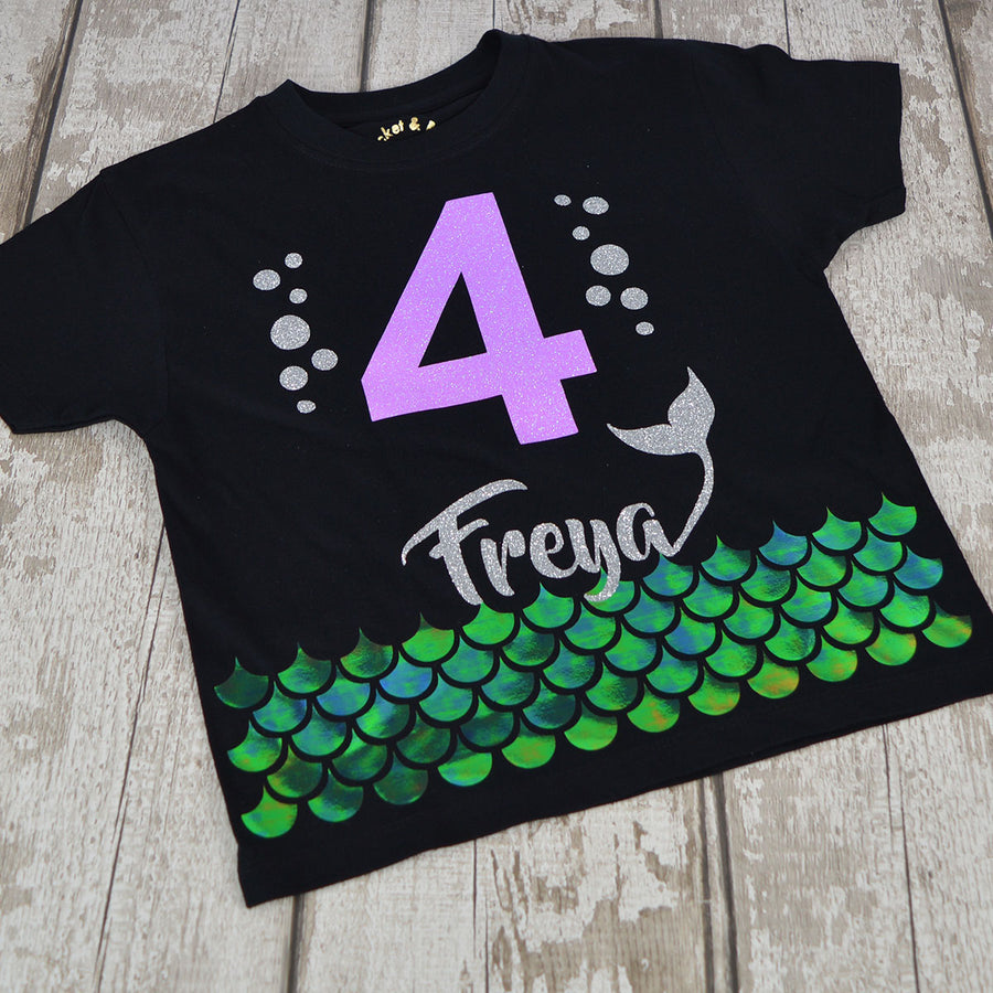 Personalised 'Mermaid Scale' Cute Kids Birthday T-Shirt