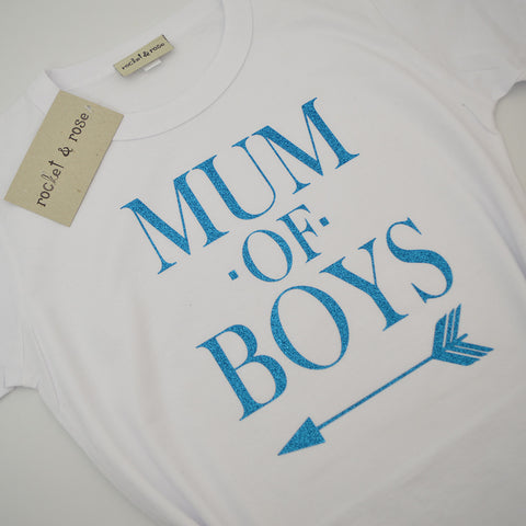 'Mum of Boys' Fun Ladies Slogan T-Shirt