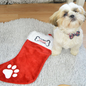 Personalised Doggy Christmas Stocking -Embroidered with a name of your choice