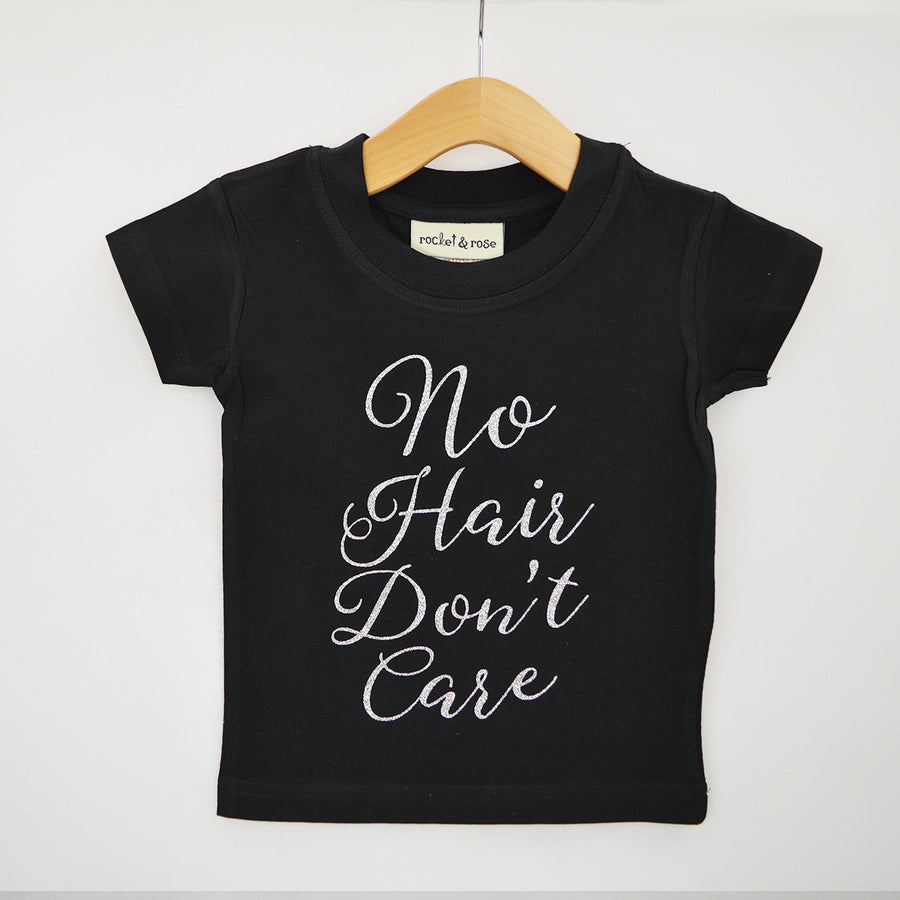 'No Hair Don't Care' Cute Kids Slogan T-Shirt