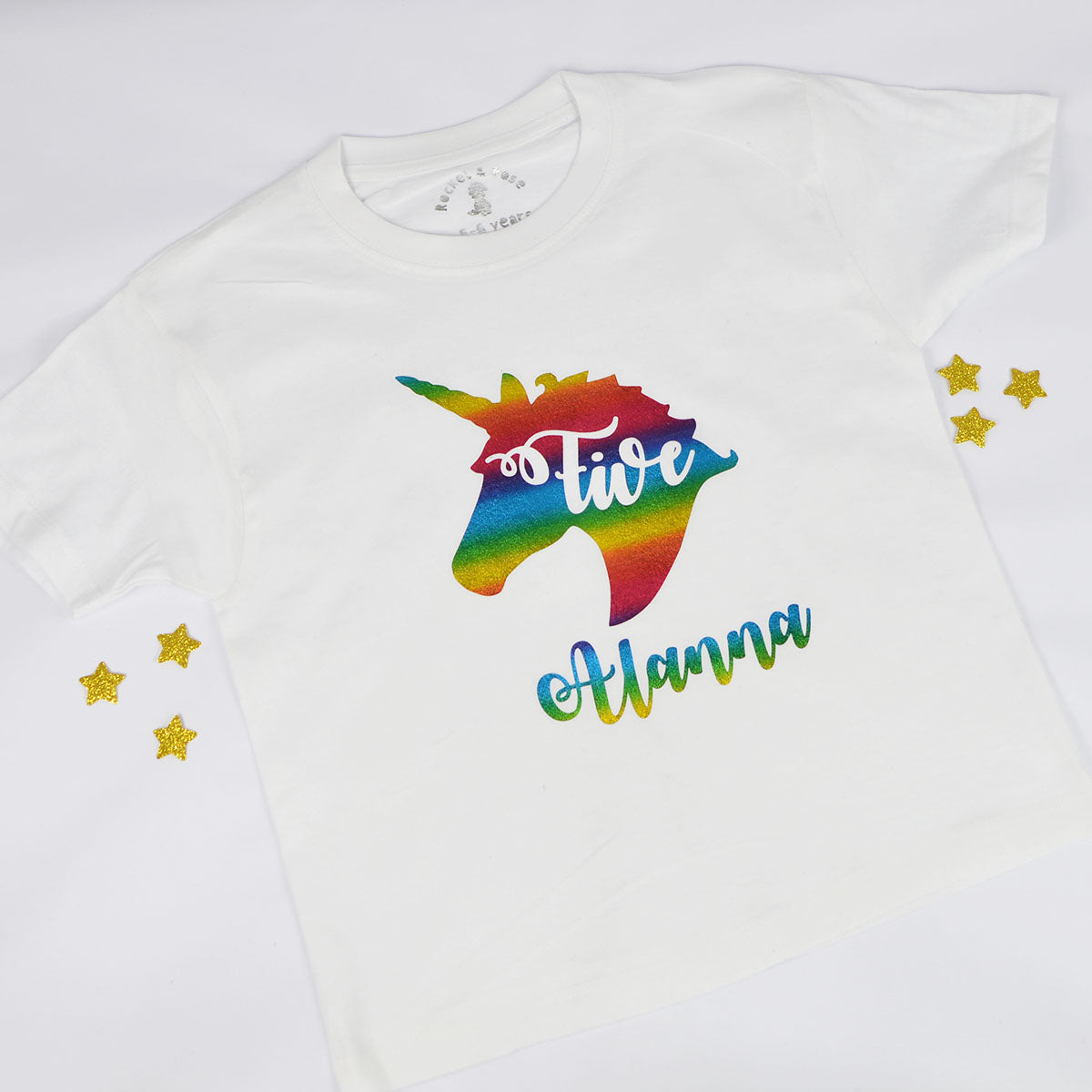 Unicorn Name Age ANY AGE Birthday T Shirt Rocket Rose