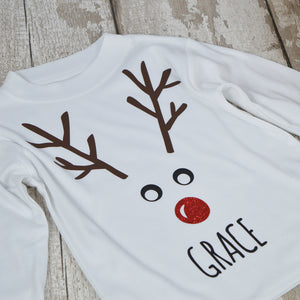 Personalised ' Reindeer Face' Christmas Kids T-Shirt