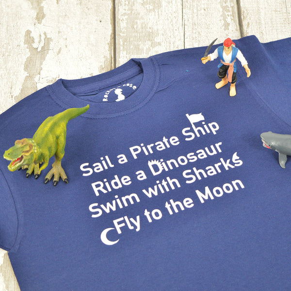 'Sail A Pirate Ship' Cool Adventure Kids Slogan T-Shirt