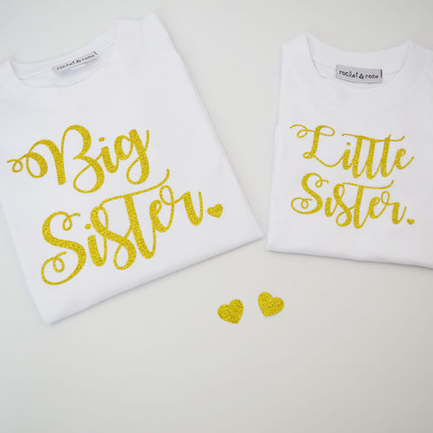 Swirly 'Big & Little Sister' Sibling Matching T-Shirt Set
