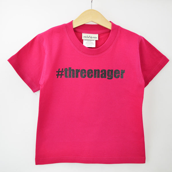 'Threenager' Cute Kids Birthday T-Shirt