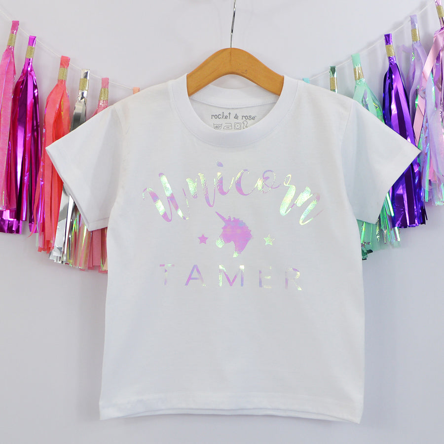 'Unicorn Tamer' Cute Kids Irridescent Slogan T-Shirt