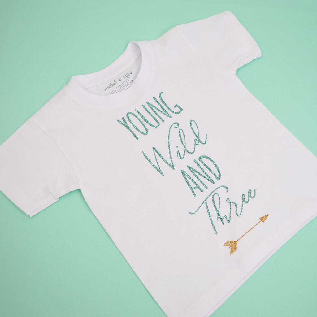 'Young Wild & Three Arrow' Cute Kids Slogan T-Shirt