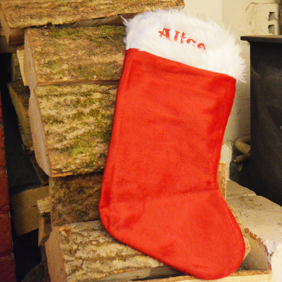 Personalised Christmas Stocking -Embroidered with a name of your choice